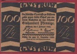 Allemagne 1 Notgeld 100 Pfenning Stadt  Güstrow (RARE)  Dans L 'état N °4786 - [ 3] 1918-1933 : República De Weimar