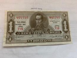 Bolivia 1 Boliviano Banknote 1952 - Bolivia