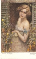 """Rudolf Fuchs.Lay At The Window. Morgengrus"" Fine Painting, Vintage German PC - Pintura & Cuadros"