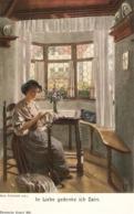 """Rud. Eichstadt. Lady Emboidering. In Liebe Gedenke Ich Dein"" Fine Painting, Vintage German PC - Pintura & Cuadros"
