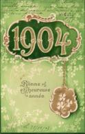 ANNEE 1904 - Bonne Et Heureuse Année - Carte Gauffrée - Nouvel An