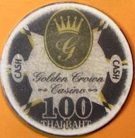 100Baht Casino Chip. Golden Crown, Poipet, Cambodia. Q05. - Casino