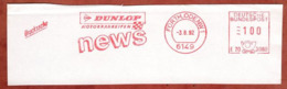 Abschnitt, Pitney Bowes E70-3080, Dunlop Motorradreifen, 100 Pfg, Fuerth 1992 (79204) - BRD
