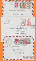 35 ILLE Et VILAINE  Lot De 3 Lettres    Années Mélangées  Avec   Affranchissements Composés De 3 Timbres - Marcophilie (Lettres)