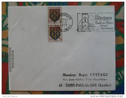 Flamme Concordante Slogan Meter Houdain Route Du Patois Pas De Calais - Marcophilie (Lettres)