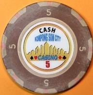 HK$5 Casino Chip. Kampong Son City, Sihanoukville, Cambodia. Q05. - Casino