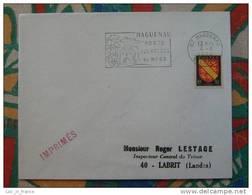 Flamme Concordante Slogan Meter Haguenau Porte Des Vosges Bas Rhin - Marcophilie (Lettres)