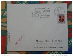 Flamme Concordante Slogan Meter Avallon 208km De Paris Yonne - Marcophilie (Lettres)