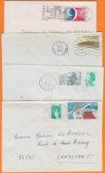 Lot De 4 Lettres  De France   Années Mélangées  Avec   Affranchissements Divers  Pour 56690 LANDEVANT - Marcophilie (Lettres)