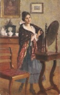 """""""A.Riech.Pretty  Lady. IN FRONT OF THE MIRROR'"""" Fine Painting, Vintage German PC - Pintura & Cuadros"""