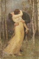 """R. Borrmeister. Couple. Pasionate Kis..Liebensrauch"" Fine Painting, Vintage German PC - Pintura & Cuadros"
