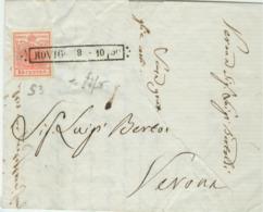 LOMBARDO VENETO- Lettera Con Testo - 8 Ottobre 1850 - ROVIGO-VERONA, Cent 15 Rosso 1° Tipo(s3),MARGINI PERFETTI, - Lombardo-Veneto