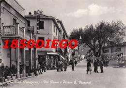 FIVIZZANO - VIA ROMA E PIAZZA G. MARCONI  F/GRANDE VIAGGIATA 1957 BELLA ANIMAZIONE - Massa