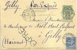 "1894 - Carte-postale ""EXPRES"" - De ""FLOREFFE"" Vers Gilly - Stamped Stationery"
