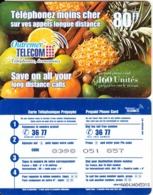 FRENCH ANTILLES & REUNION - Fruits, Outremer Telecom Prepaid Card 80 FF, Large CN, Used - Antilles (Françaises)