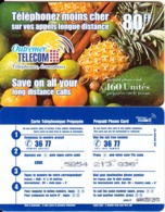 FRENCH ANTILLES & REUNION - Fruits, Outremer Telecom Prepaid Card 80 FF, Medium CN, Used - Antilles (Françaises)