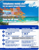 FRENCH CARRIBEAN & REUNION - Beach, Outremer Telecom Prepaid Card 40 FF, Large CN, Used - Antilles (Françaises)