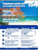 FRENCH CARRIBEAN & REUNION - Beach, Outremer Telecom Prepaid Card 40 FF, Medium CN, Used - Antilles (Françaises)