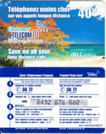 FRENCH CARRIBEAN & REUNION - Beach, Outremer Telecom Prepaid Card 40 FF, Small CN, Used - Antilles (Françaises)