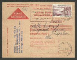85F évian / Carte Contre Remboursement 09.06.1959 >>> LA PALISSE - ALLIER - Marcophilie (Lettres)