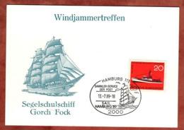 Karte, Windjammertreffen, Gorch Fock, Seenotrettungsdienst, SoSt Hamburg 1989 (79219) - BRD