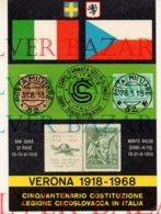 CINQUANTENARIO COSTITUZIONE LEGIONE CECOSLOVACCA IN ITALIA- VERONA 1918-1968 - ASSOCIAZIONE FILATELICA SCALIGERA - Altri