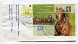 ESPAÑA 2000 - ARGENTINA ENVELOPE CIRCULEE A REGIMIENTO DE GRANADEROS A CABALLO GENERAL SAN MARTÍN 2014 -LILHU - Briefmarkenausstellungen