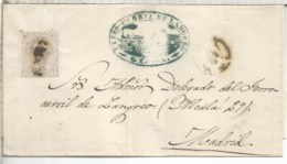 ESPAÑA ENVUELTA AMADEO GIJON ASTURIAS 1879 A MADRID CON MARCA DEL FERROCARRIL DE LANGREO RAILWAY - Lettres & Documents