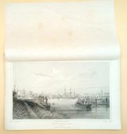 Staalgravure 'Rotterdam: Boompjes'/ Steel Engraving 'Rotterdam: Boompjes' [neigbourhood], Cooke, Kurz, 1858 - Prenten & Gravure
