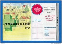 Paris 18ème Arrondissement - Calendrier Pharmacies De Garde 1993 - Europe