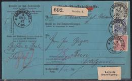 DR Paketkarte Mif Minr.41,42,44 K1 Dresden 18.5.87 Gel. In Schweiz - Briefe U. Dokumente