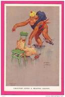 """CPA (Réf : Z406) ILLUSTRATEUR LAWSON - WOOD """"GRAND POP"""" SERIES - LE SINGE LET E COCHON PATINAGE ARTISTIQUE - Illustratori & Fotografie"""