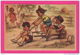 CPA - Rare (Réf Z818) Illustrateur Germaine BOURET  (enfants) Non C'est Mon Tour De Faire Le Général (Képi, Brouette) - Bouret, Germaine