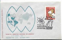 ARGENTINA 1963 OEA WORLD MAP EXHIBITION HISTORY OF AMERICA SHIP ON POSTMARK COMMUNICATION - Argentina