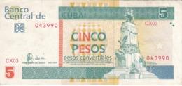 BILLETE DE CUBA DE 5 PESOS CONVERTIBLES DEL AÑO 2004  (BANKNOTE) ANTONIO MACEO - Cuba