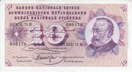 BILLETE DE SUIZA DE 10 FRANCS DEL AÑO 1971 EN CALIDAD EBC (XF) (BANKNOTE) - Zwitserland