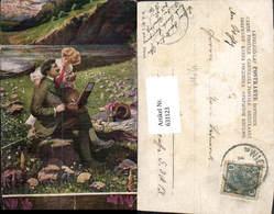 631123,Künstler Ak F. Kuderna Paar Landschaft Picknick Maler Malerei Pub B.K.W.I. 603 - Berufe
