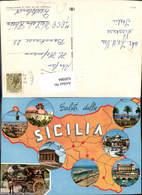 630984,Landkarten AK Sicilia Sizilien Trapani Messina Catania Italy - Ansichtskarten