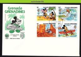 Nfe1811b  WALT DISNEY KANO VULKAAN SURFEN DONALD MICKEY SURFING VULCANO GEBR GRIMM GRENADE GRENADINES 1985 FDC - Disney