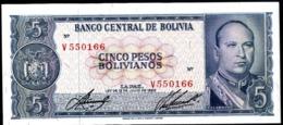 BOLIVIA 5 PESOS BOLIVIANOS AÑO 1962 UNC - Bolivia