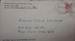 V) 1966 MEXICO, FROM PERIBAN MICHOACÁN TO FLORIDA US, POSTAL STATIONARY, BLACK CANCELLATION - Mexico