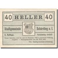 Billet, Autriche, Schärding, 40 Heller, Blason 1920-12-31, SPL Mehl:FS 951IIIa - Autriche