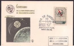Argentina - 1965 - FDC - Centenaire De L'Union Internationale Des Télécommunications - Télécom