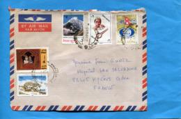 MARCOPHILIE- Lettre NEPAL-cad 1985  5 Stamps -bel Affranchissement Composé - Népal