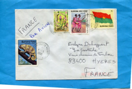 MARCOPHILIE- Lettre BURKINA FASO>Françe-cad 1990 4 Stamps N°.662reptile--904 Plante Parasite+720 Danse - Burkina Faso (1984-...)