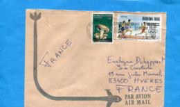 MARCOPHILIE- Lettre BURKINA FASO>Françe-cad +flamme1990 2 Stamps N°.82 Champigon+745 Sport -préolympique -course - Burkina Faso (1984-...)
