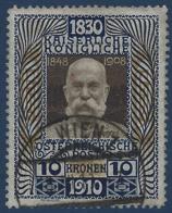 Autriche 1910 N°135 Oblitéré* Superbe...R & TTB - 1850-1918 Imperium