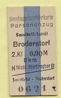 BRD - Pappfahrkarte -  (DR) --> Sanitz - Brodersdorf - Europa