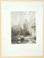 Staalgravure 'St. Laurens Kathedraal Rotterdam'/ Steel Engraving 'St. Lawrence Cathedral', 1836, Balmer, Winkles - Prenten & Gravure
