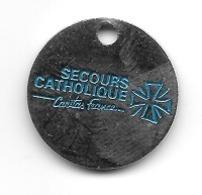 Jeton De Caddie  Association  SECOURS  CATHOLIQUE  Caritas  France  Voir  Description - Jetons De Caddies